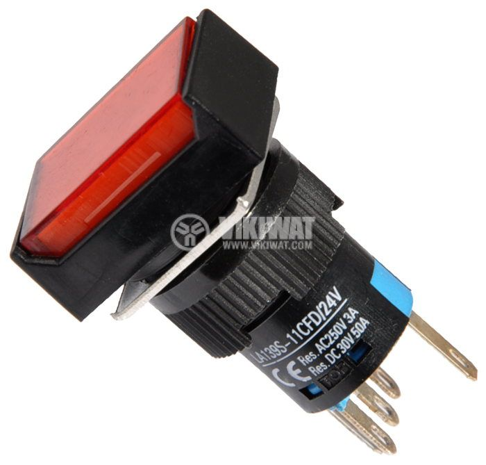 Button Light Switch type RAFI LA139S-11CFD 24VAC/DC 2PDT - NO+NC red - 1