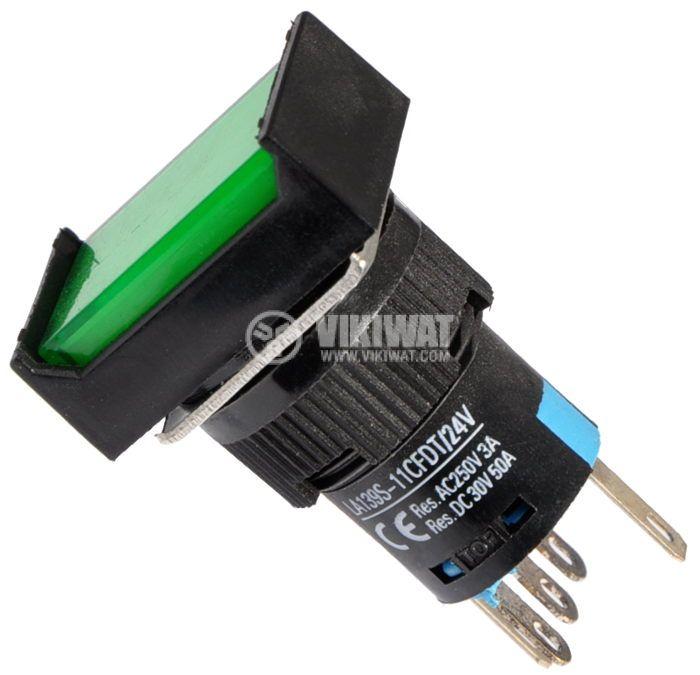Бутон светещ тип RAFI LA139S-11CFDT 24VAC/DC SPDT - NO+NC зелен - 1