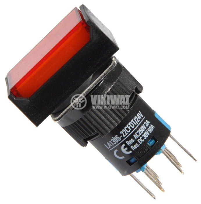 Бутон светещ тип RAFI LA139S-22CFDT 24VAC/DC 2PDT - 2NO+2NC червен - 1