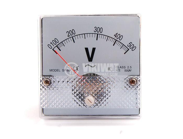 Волтметър, 500 V, AC, SF-80 директно свързване, с размери 80x80 mm