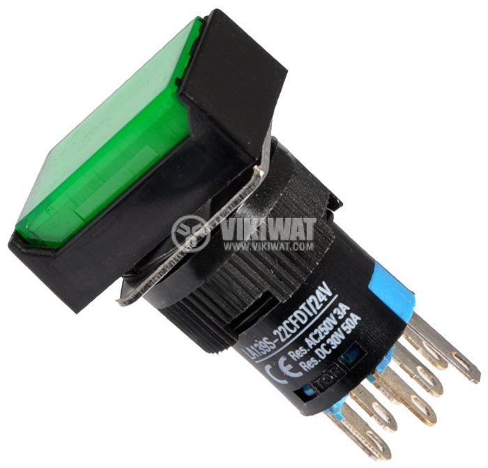 Бутон светещ тип RAFI LA139S-22CFDT 24VAC/DC 2PDT - 2NO+2NC зелен - 1