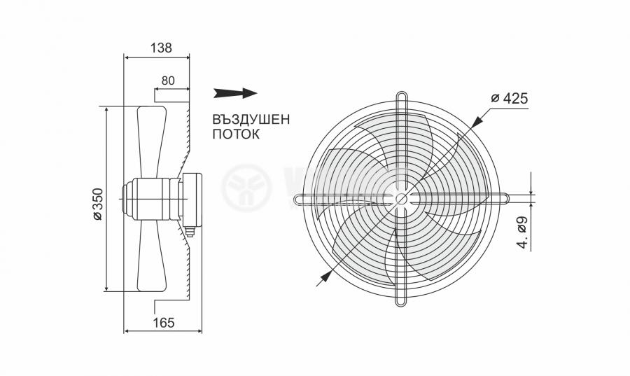 Fan, industrial, axial Ф350mm, 3270m3 / h, 100W, FDA-4E-350S, 220VAC - 7