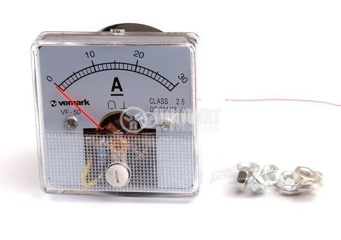 Analogue panel ammeter VF-50, 30 A, DC, self-contained