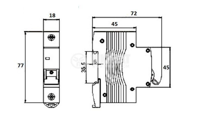 Miniature circuit breaker 1x40A Multi9 NANTE DIN rail curve C - 2