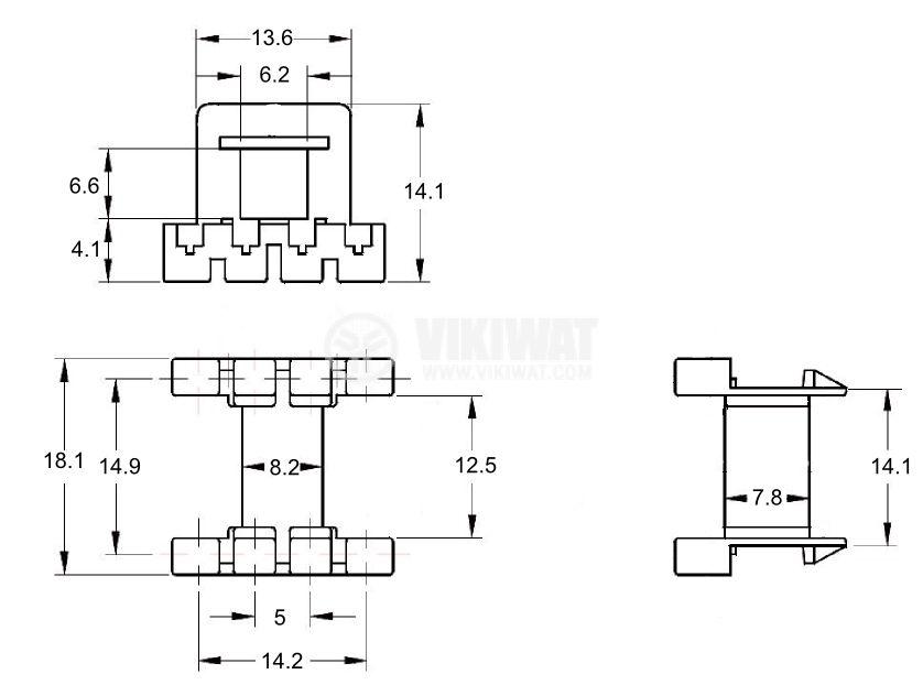 Ferrite Core Type E Coilformer - 2