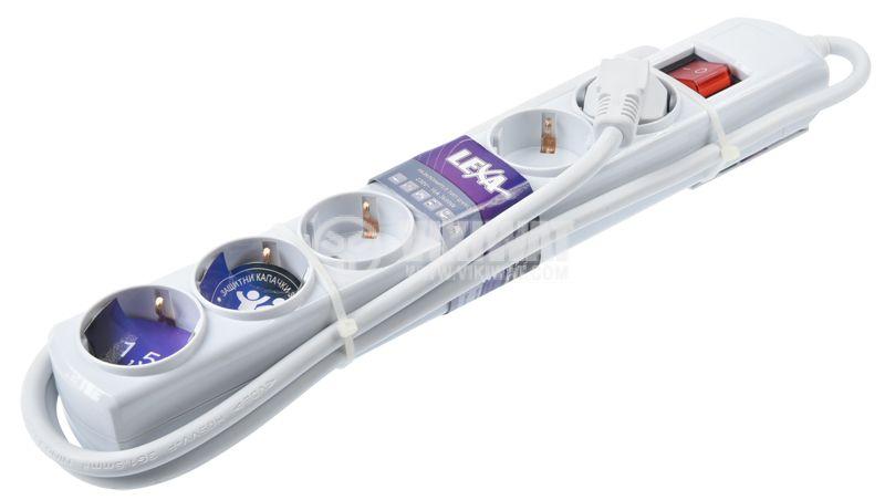 Разклонител 6-ца, Lexa, 1.5m кабел, с ключ, бял - 1