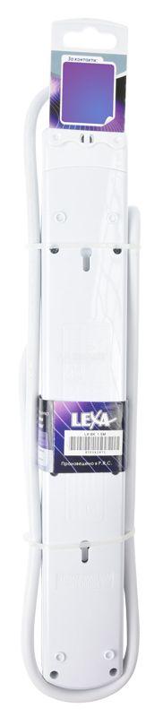 Разклонител 6-ца, Lexa, 1.5m кабел, с ключ, бял - 3