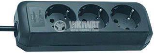 Разклонител 3-ка, 1.5m, 3х1.5 mm2, 16A, 230VAC, 3680W, черен