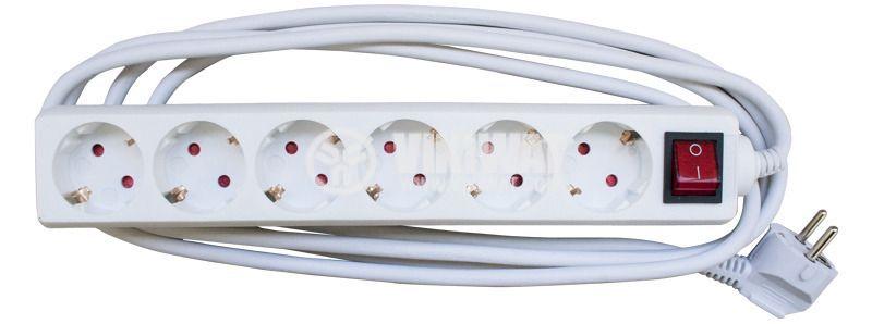 Разклонител 6-ца, Lexa, 3m кабел, с ключ, бял
