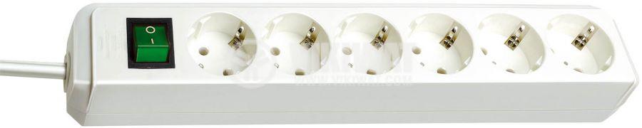 Разклонител 6-ца, 3m кабел, 3х1.5mm2, бял, с ключ