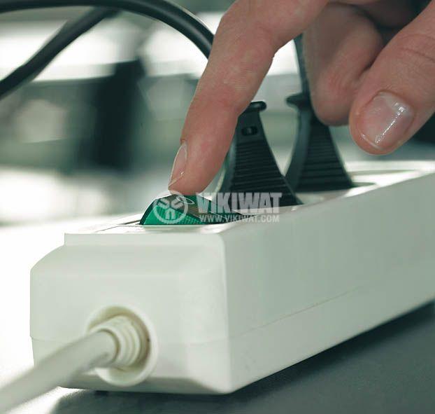 Разклонител 6-ца, 3m кабел, 3х1.5mm2, бял, с ключ - 2