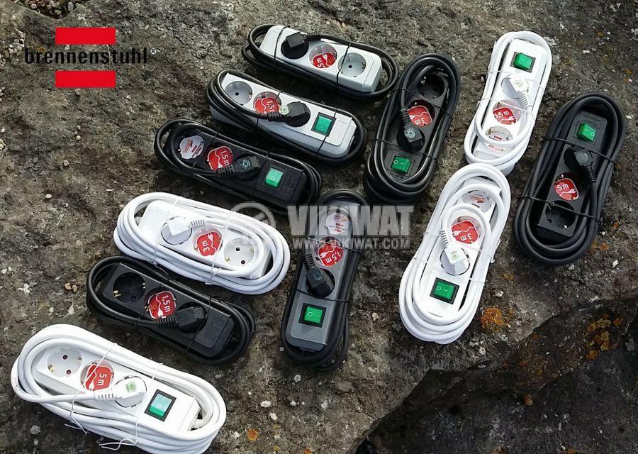 Троен разклонител шуко, кабел 1.5 метър, бял, Ecoline Brennenstuhl 1158610015 - 2