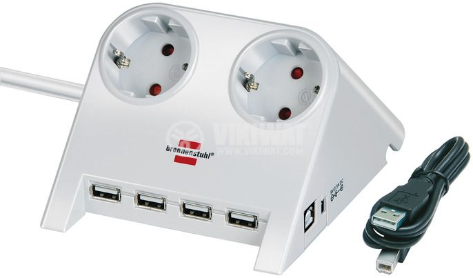 Desktop-Power-Plus with USB 2.0 hub with 5 V jack 2-way silver 1,8m H05VV-F 3G1,5 - 1