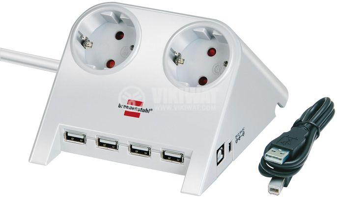Разклонител за бюро 2-ка, с 4 USB порта, сребрист, 1.8m кабел - 1