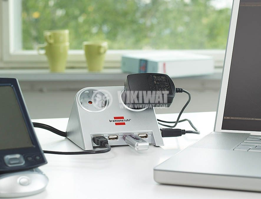 Desktop-Power-Plus with USB 2.0 hub with 5 V jack 2-way silver 1,8m H05VV-F 3G1,5 - 2