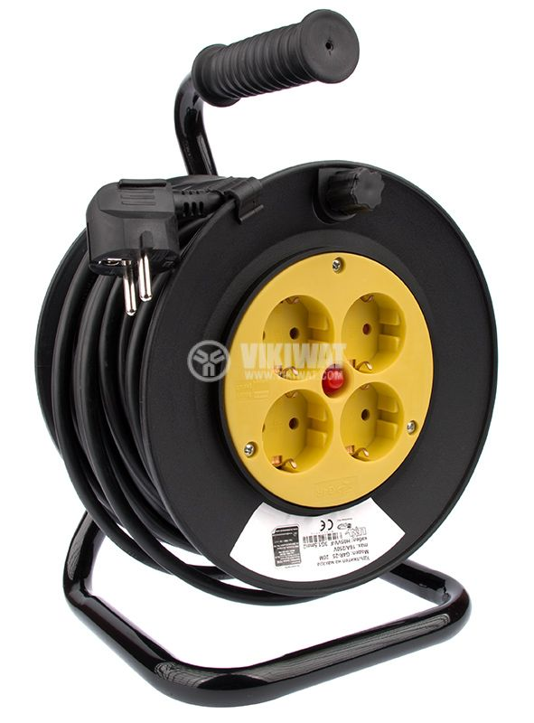 Extension cord reel, 3x1.5mm2, 4 sockets, 20m - 1