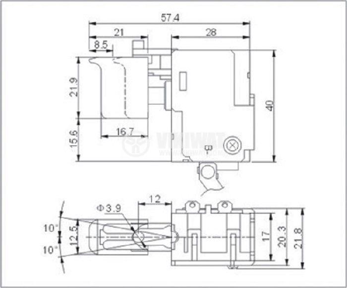 Електрически прекъсвач (ключ), регулатор на обороти с реверсиране за ръчни акумулаторни електроинструменти FA024A-20/1 20A/7.2VDC - 24VDC - 3
