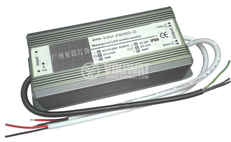 LED захранващ блок KAV-24060-0, 25VDC, 2.5A, 60W, водозащитен