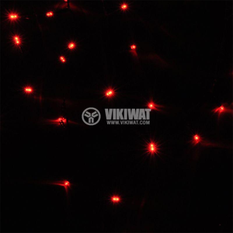 Коледна украса тип въже 10m, 3.6W, червена, IP44, 100 LED, външен монтаж - 2