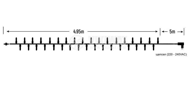 Коледна украса тип въже 10m, 3.6W, червена, IP44, 100 LED, външен монтаж - 5