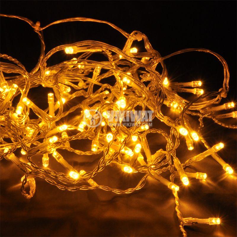 Коледна украса тип въже 7m, 3.6W, топло бяла, IP44, 100 LED, външен монтаж - 1