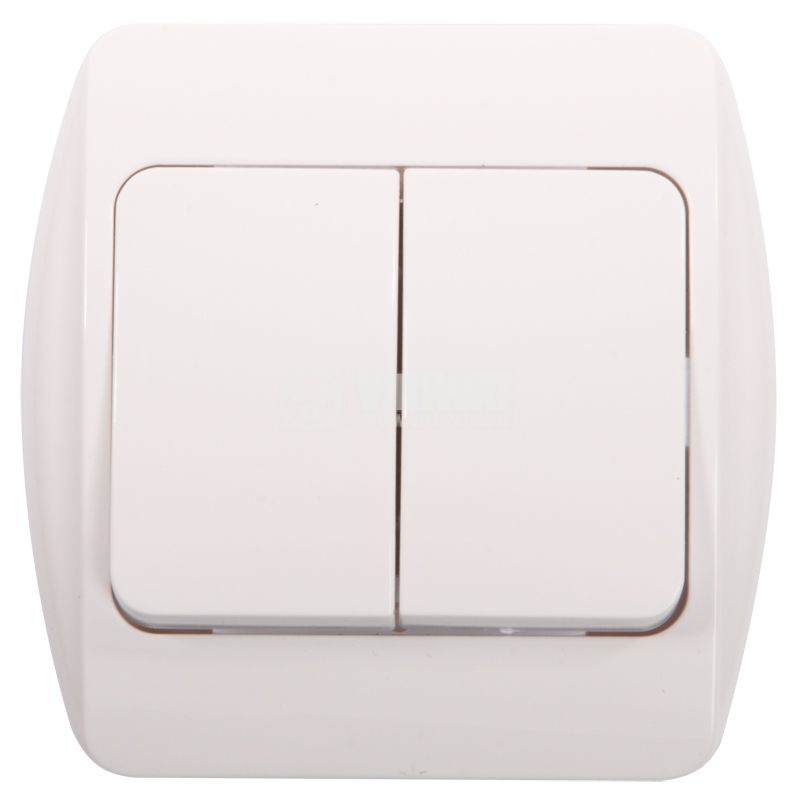Double Electrical Switch, 250 V/AC, 16 A, White - 1