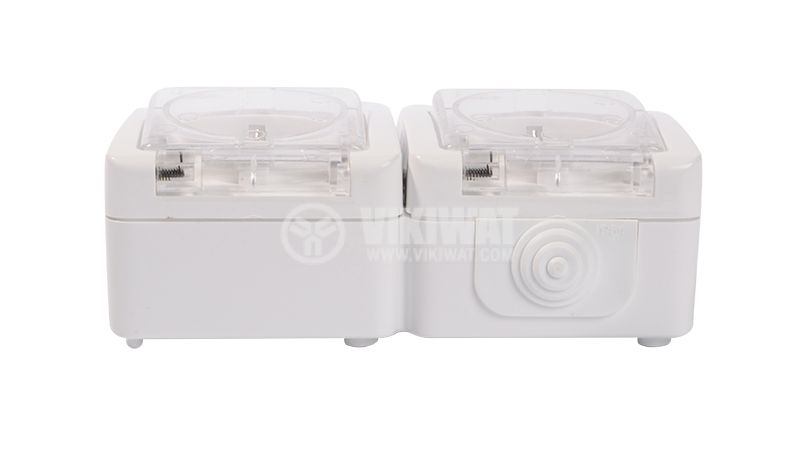 Double electrical outlet Schuco, LK72221P, 250VAC, 16A, white, IP54, outdoor installation - 3