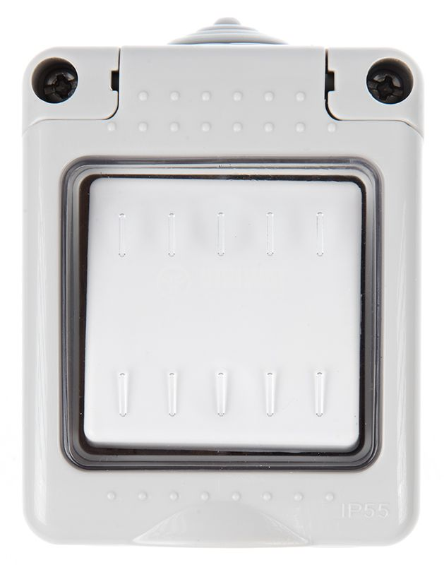 Electrical switch, LEXA LK34511, outdoor, 16A, 250VAC, gray, IP55 - 2