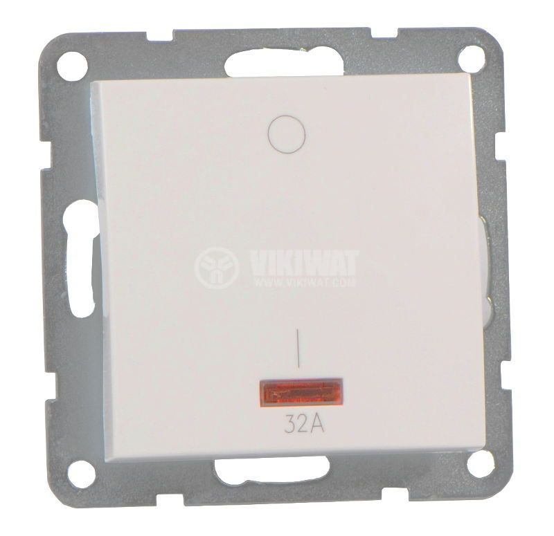 Electric switch for boilers, 32A, 250VAC, built in mounting, with light indication, modul - 1