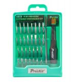 Screwdriver set 31pcs. with two-component handle with rotating head
