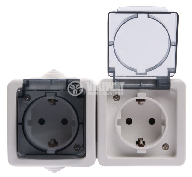 Double electrical outlet Schuco, LK72221P, 250VAC, 16A, white, IP54, outdoor installation - 4