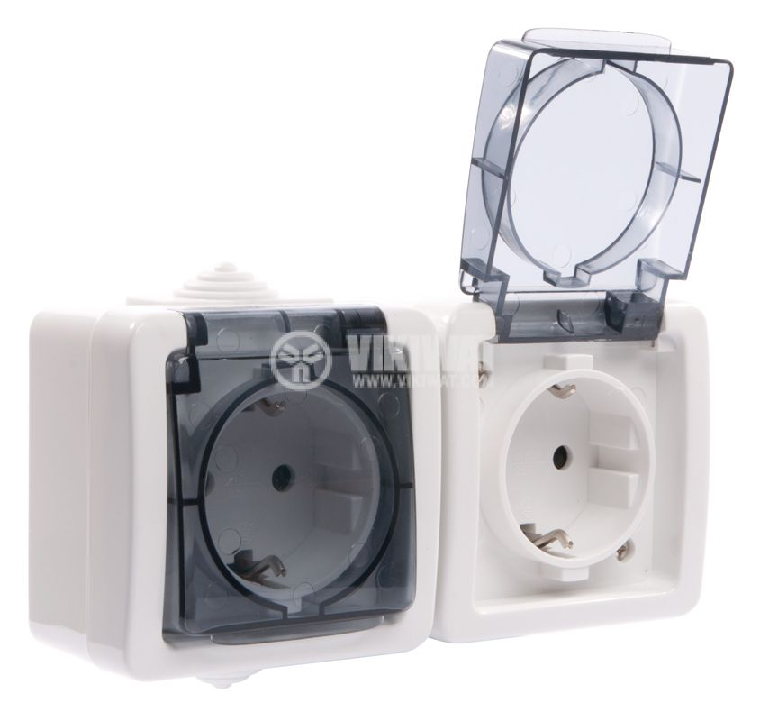 Double electrical outlet Schuco, LK72221P, 250VAC, 16A, white, IP54, outdoor installation - 5