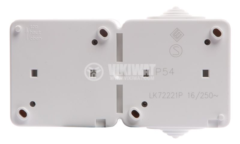 Double electrical outlet Schuco, LK72221P, 250VAC, 16A, white, IP54, outdoor installation - 6