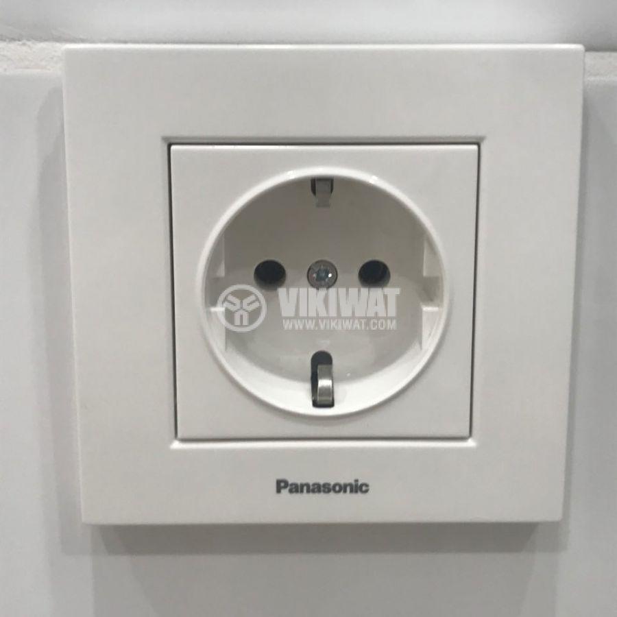 Бял контакт за вграждане Панасоник Каре, единичен електрически контакт шуко - 7