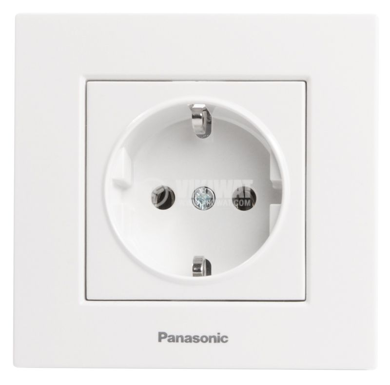 Power electrical socket, Panasonic, 16A, 250VAC, white, build-in, schuko - 2