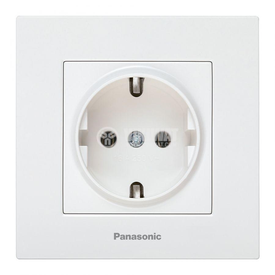 Power electrical socket, 2P+E, Karre Plus, Panasonic, 16A, 250VAC, white, build-in, schuko, WKTC0202-2WH - 1
