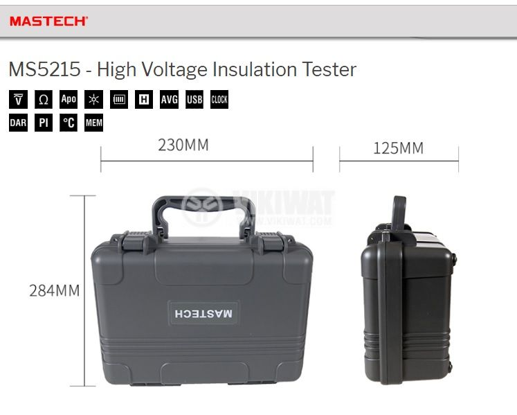 Portable digital high voltage insulation tester MS5215, Mastech - 2