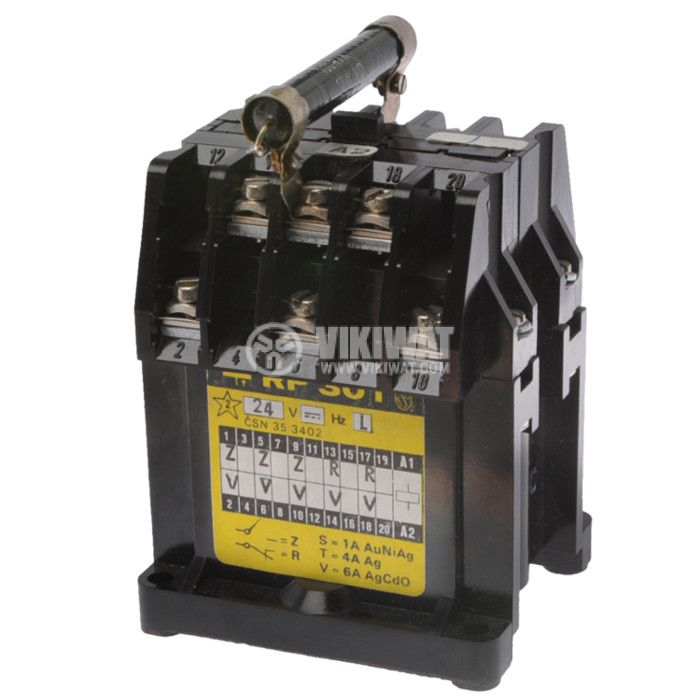 Contactor, three-phase, coil 24VDC, 3PST - 3NO, 2NC, 6A, RP301 - 1
