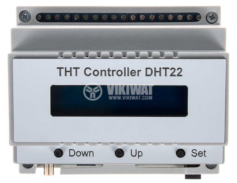 Термо-влаго-таймер, контролер THT DHT22, 12VDC, -40 - 80°C, 0 - 100% RH, 1s - 99h59min59s - 1