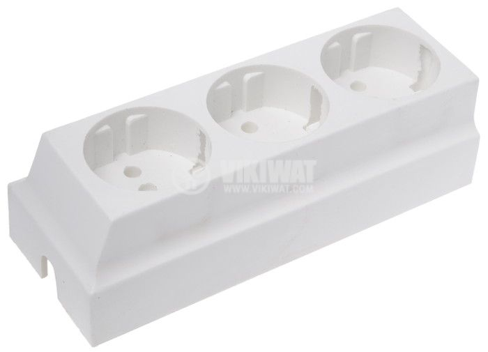 Coupler, 3 sockets, white, bakelite