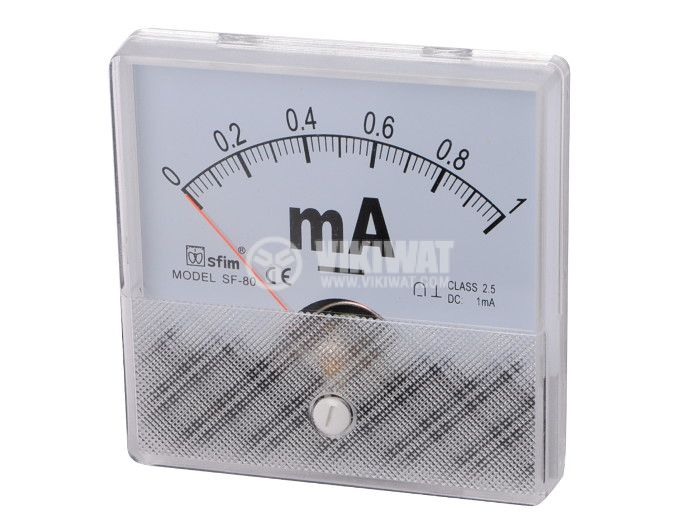 Ammeter, 0-1 mA, DC, 80x80 mm, SF-80 - 1