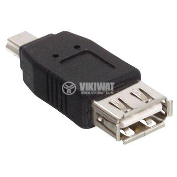 Конектор, USB A женски към USB mini мъжки - 1