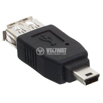 Конектор, USB A женски към USB mini мъжки - 2