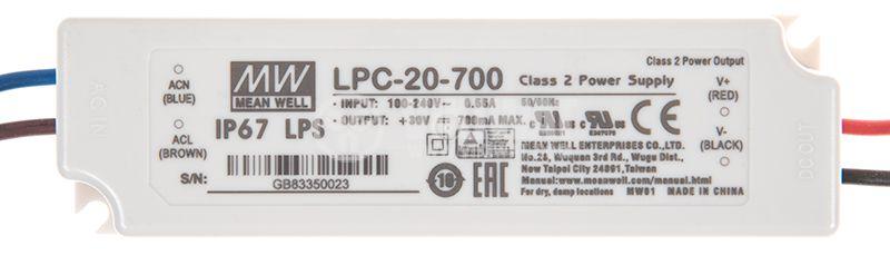 LED Power supply LPC-20-700, 9-30V, 700mA, 21W, IP67 - 1