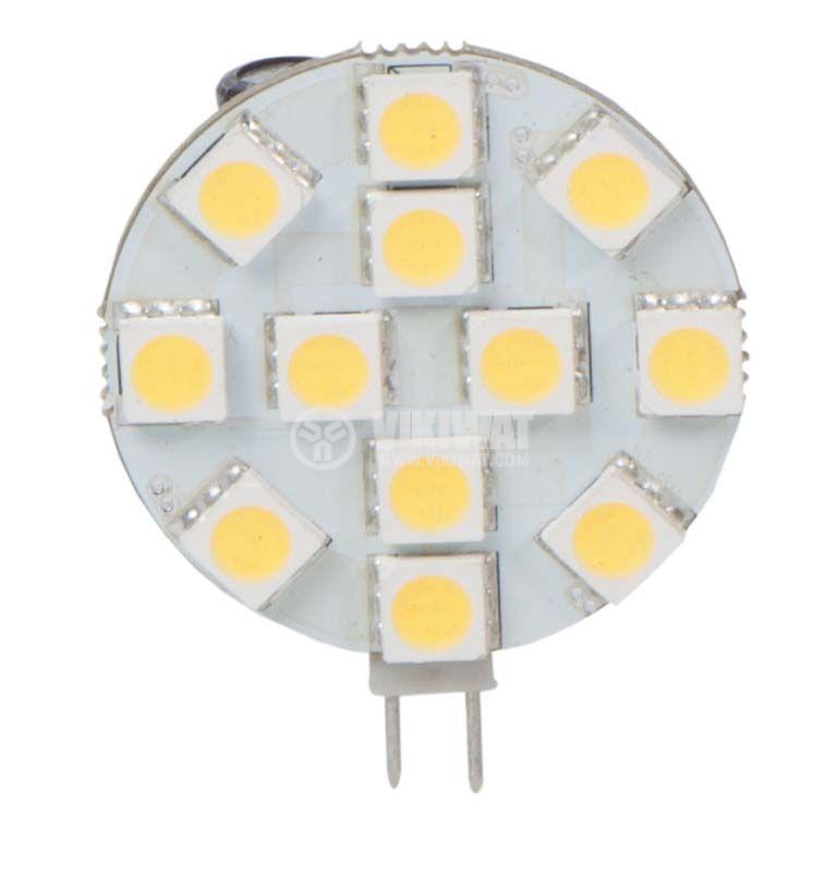 LED лампа G4, 2.4W, 12VACDC, 12 LED, 190lm, неутрално бялo - 1