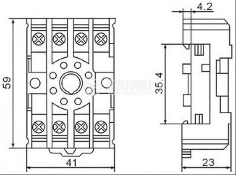 Цокъл за реле PF085N, 300VAC, 10А, 8pin, еврошина - 2