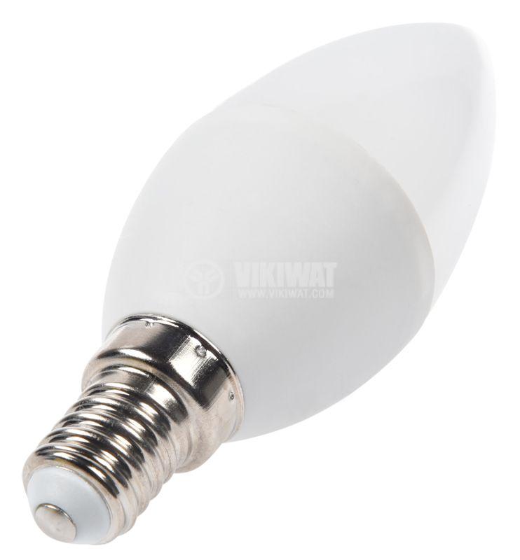 LED лампа 5W, E14, 220VAC, 3000K, топло бяла, тип свещ, BA09-00510 - 4