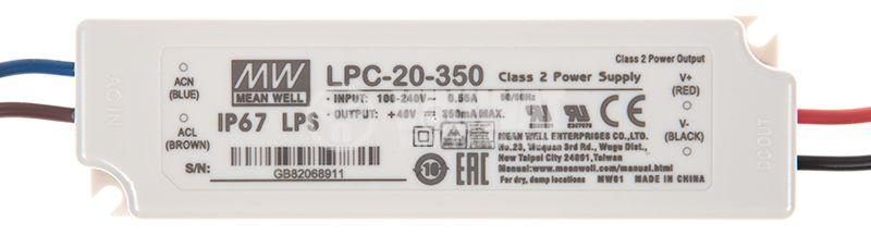 LED switching power supply LPC-20-350, 48VDC, 350mA, 16.8W, waterproof