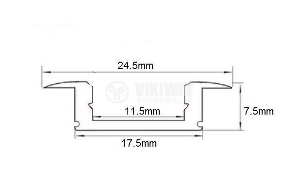 Aluminium profile for LED strip, narrow, for incorporation - 3