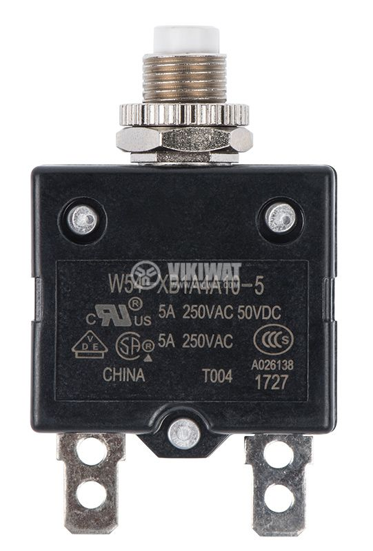 Resettable Thermal Circuit Breaker , W54-XB1A4A10-5, 5 A , 250 VAC - 1